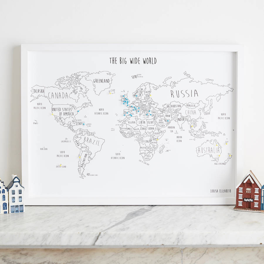 personalised world travel map with pins by louisa elizabeth – Map With Pins For World Travel