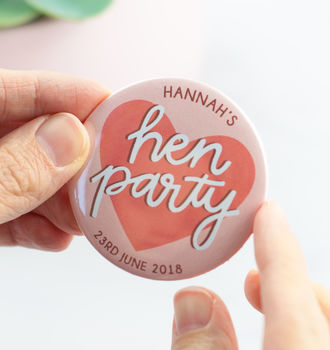 Personalised Hen Party Badge