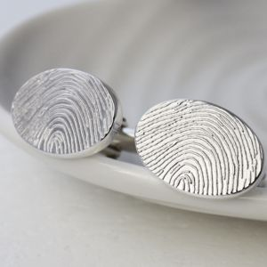 Personalised Ink Fingerprint Oval Cufflinks