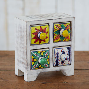 Antique Effect White Ceramic Four Drawer Set - women's jewellery
