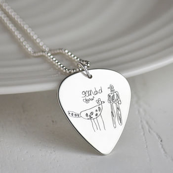 Your Own Drawing Personalised Silver Plectrum Necklace