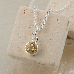 Citrine Necklace, November Birthstone