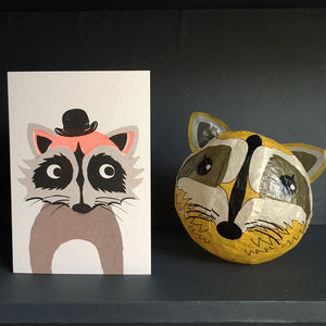 Raccoon Paper Balloon Greeting Card