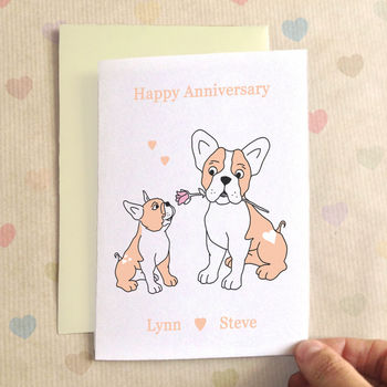 Personalised Bulldog Anniversary Card