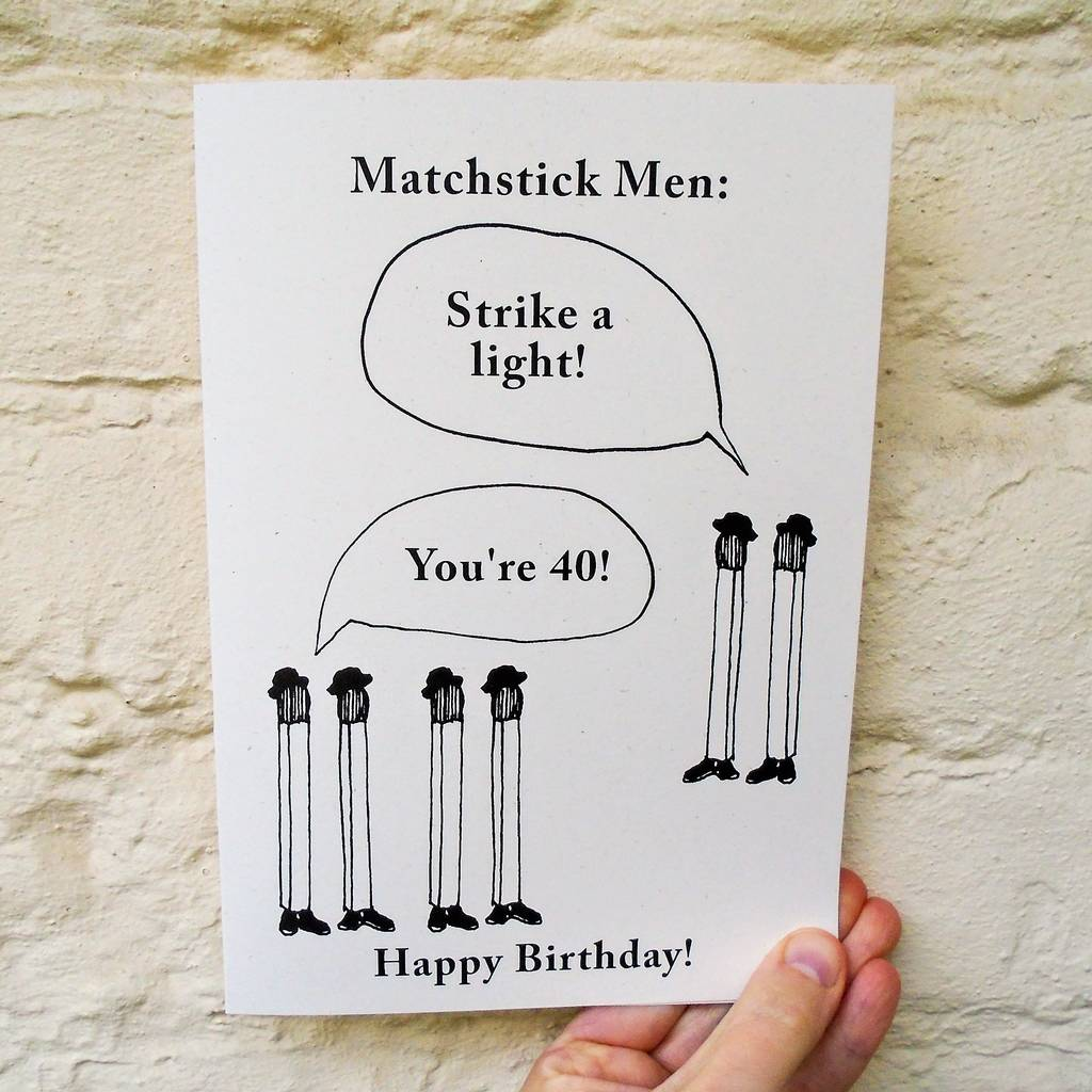 Personalised Age 'Matchstick Men' Birthday Card