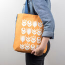 Scandinavian Flower Pattern Tote Bag
