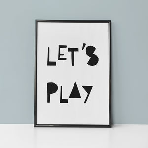 Lets Play Nursery Typography Quote