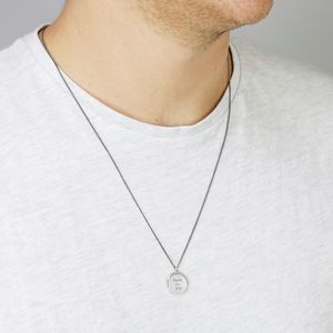 Men's Personalised Spinning Disc Necklace - necklaces