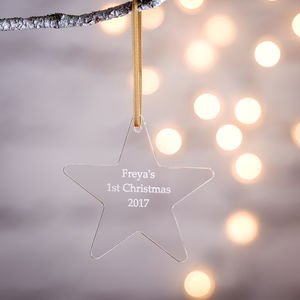 Personalised Baby's First Christmas Star Decoration - tree decorations
