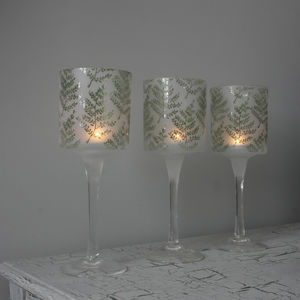Frosted Etched Fern Tea Light Holder With Stem