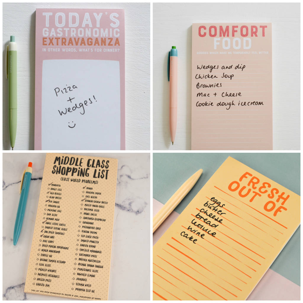 supplies to stay alive magnetic shopping list pad by the happy rh notonthehighstreet com