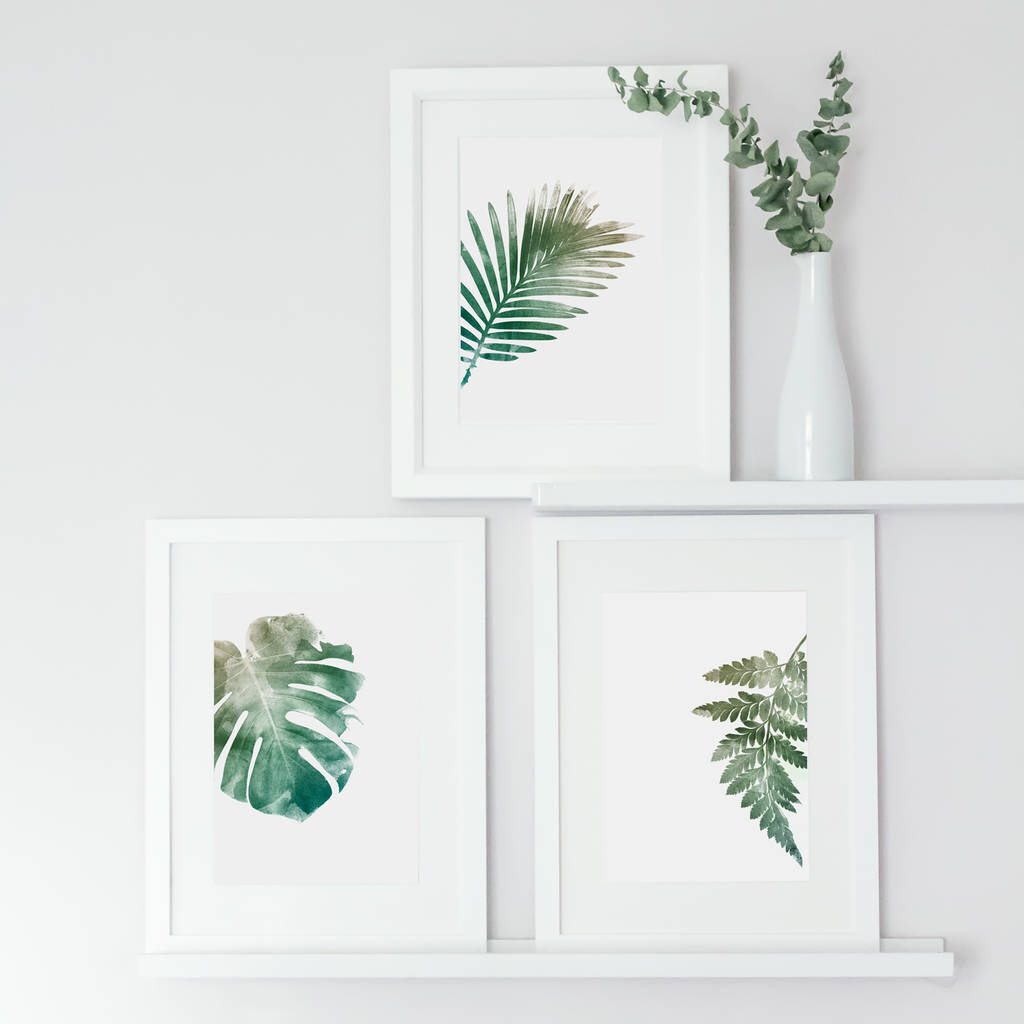 a set of three botanical leaves by georgie st clair