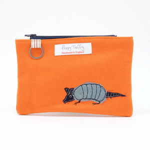 Armadillo Embroidered Flat Purse With Keyring
