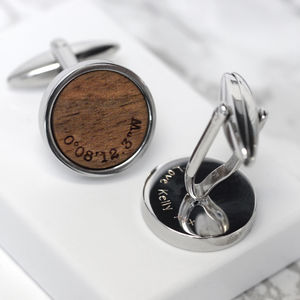 Personalised Walnut Wood Coordinate Cufflinks - men's accessories