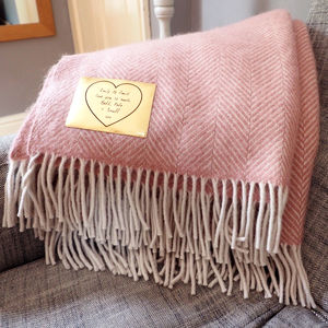 Personalised Wool Throw - 50th anniversary: gold