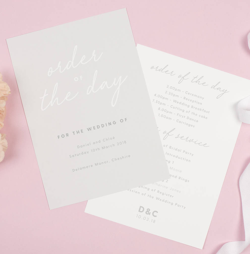 Grey Rachel Order Of The Day Program Cards
