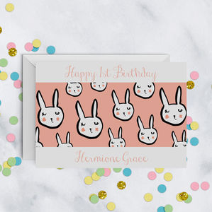 1st Birthday Personalised Bunny Rabbit Card A5 - birthday cards