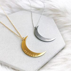 Personalised Crescent Moon Necklace