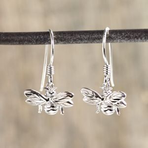 Silver Bumble Bee Earrings - children's jewellery
