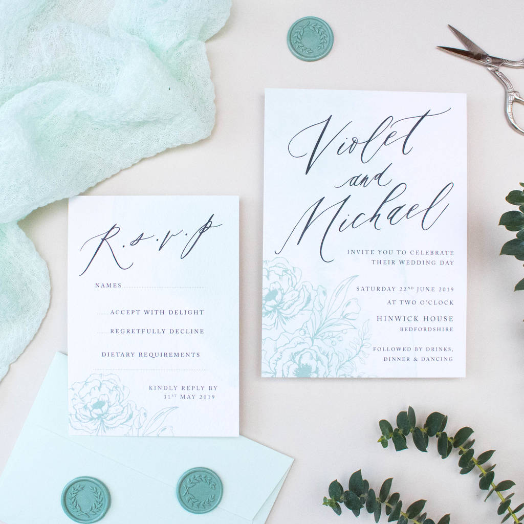 mint green calligraphy wedding invitation by nina thomas studio ...