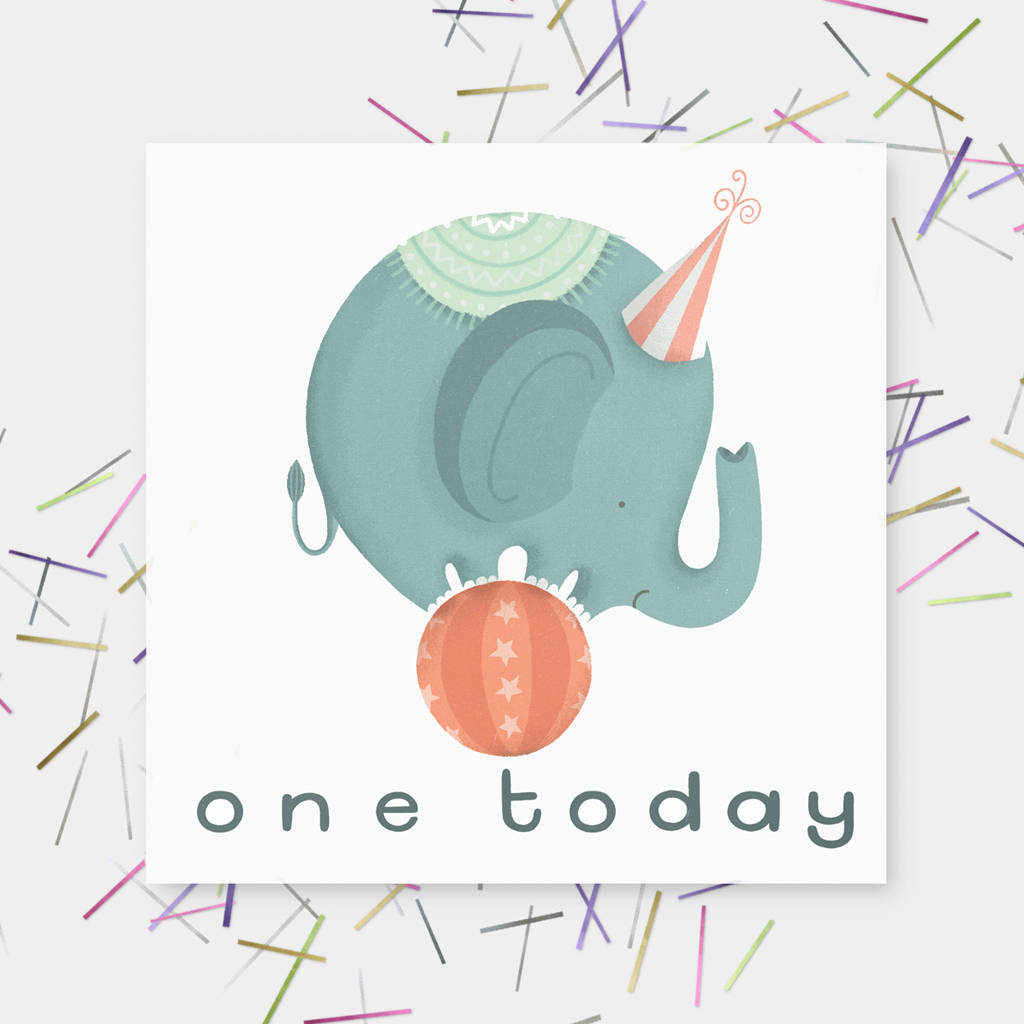 'One Today' Elephant 'Happy Birthday' Greetings Card