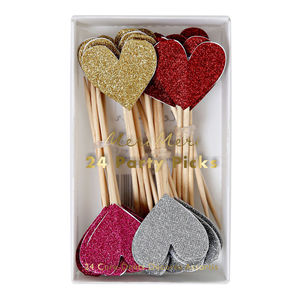 Glitter Heart Cake Toppers - table decorations