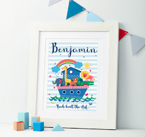 Child's Personalised Noah's Ark Framed Print