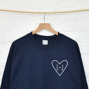 Personalised Couples Initials Monogram Heart Sweatshirt - engagement gifts