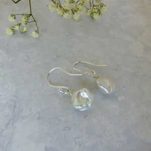 Keshi Pearl Bridal Drop Earrings