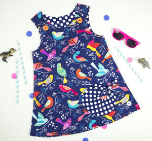 Bird Print Bubble Pocket Dress - dresses