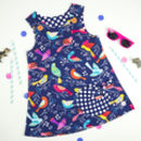 Girls Bird Print Pinafore Dress
