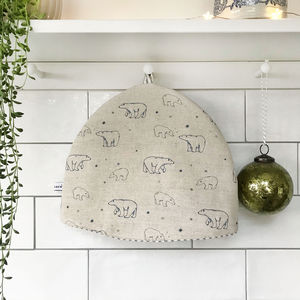 Polar Bears Linen Tea Cosy