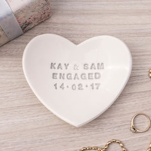 Personalised Engagement Ring Dish - jewellery storage & trinket boxes