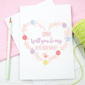 Personalised Will You Be My Head Bridesmaid Card - be my bridesmaid?