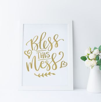 'Bless This Mess' Foil Print Wall Art
