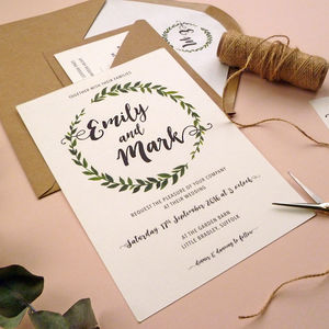 Botanical Leaf Wreath Wedding Invitation Set