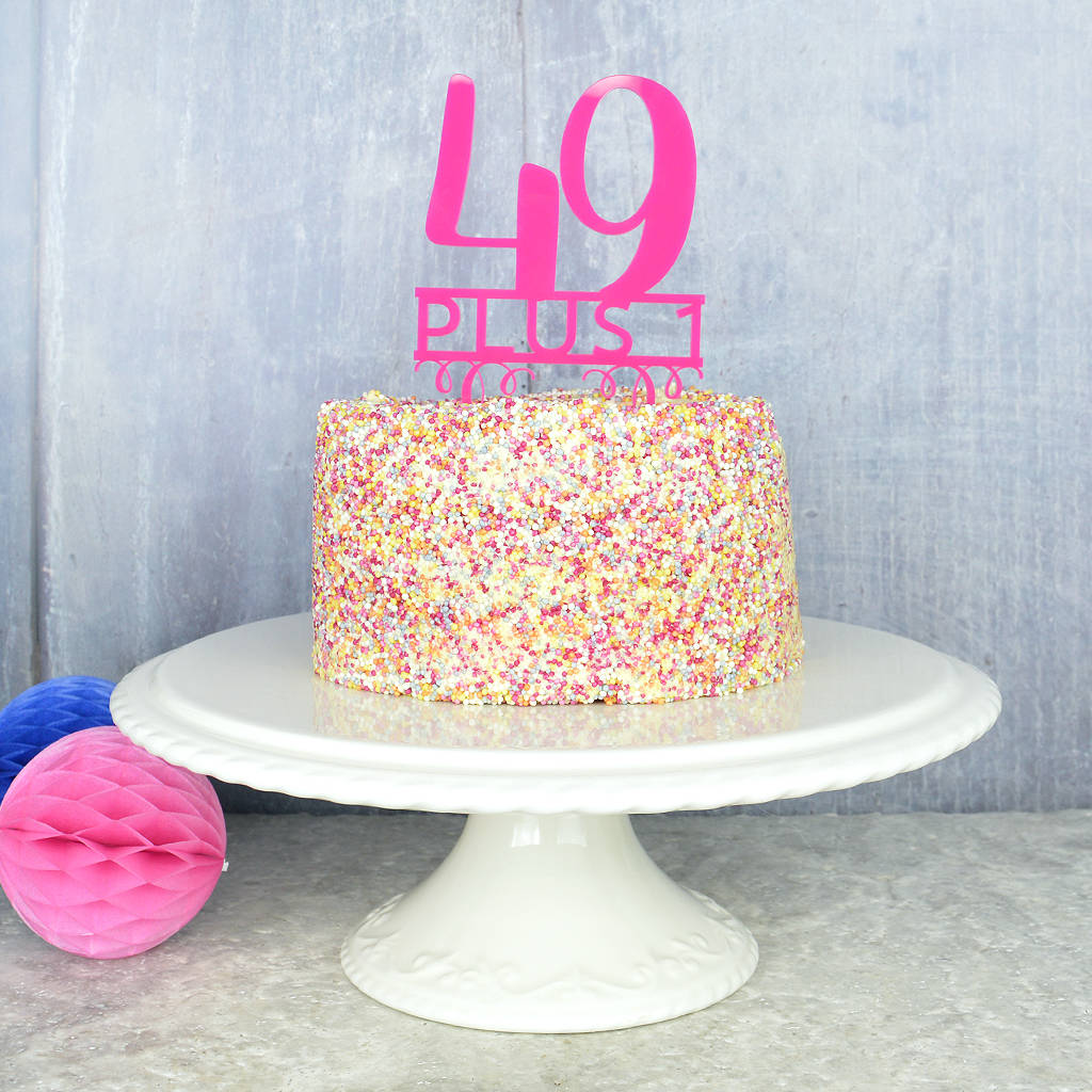 50th birthday cake topper by pink and turquoise notonthehighstreetcom