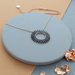 Black Zircon Rose Gold Pave Sun Necklace - necklaces & pendants