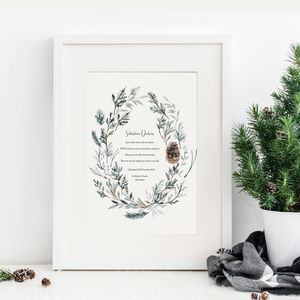Personalised Winter Godparents Christening Print
