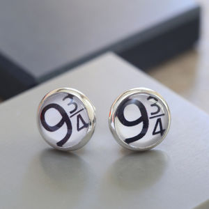 Glass Domed Number Ear Studs