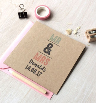Personalised Recycled Mr And Mrs Wedding Card