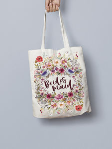 b281f774adb0 Personalised Floral Bridesmaid Maid Of Honour Tote Bag