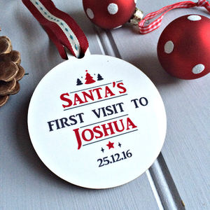 Personalised 'Santa's First Visit' Christmas Bauble - tree decorations