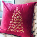 O Holy Night Christmas Velvet Festive Cushion