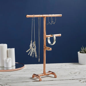 Industrial Copper Pipe Jewellery Stand