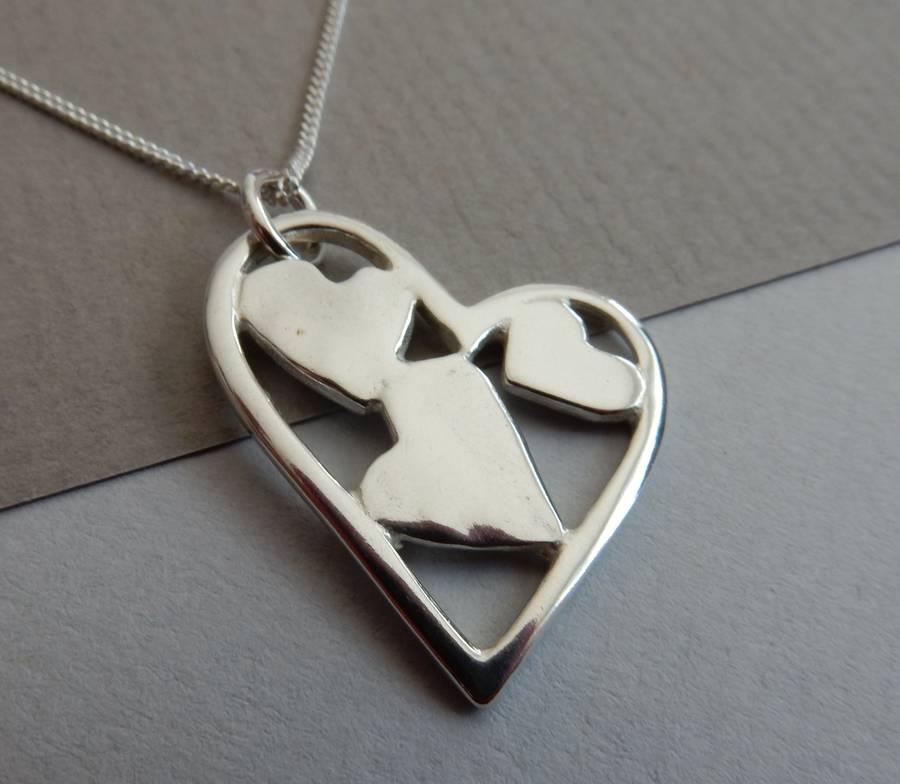 Silver Patchwork Heart Trio Pendant And Chain