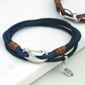 Personalised Men's Suede Double Wrap Bracelet