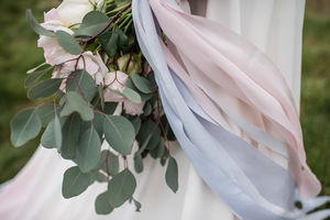 Rose Quartz And Serenity Hand Dyed Pastel Silk Ribbon - wedding stationery
