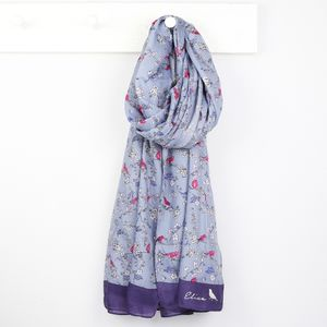 Blue Bird And Blossom Scarf - women's accessories