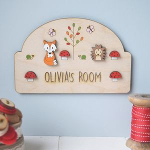 Personalised Woodland Name Door Plaque - door plaques & signs